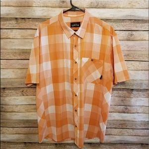Orvis Trout Bum Orange White SS Plaid Shirt XL